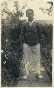 Social history early photo postcard elegant young man