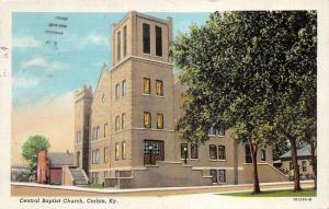 Corbin Kentucky~Central Baptist Church Corner View~Houses Next Door~1943 Linen