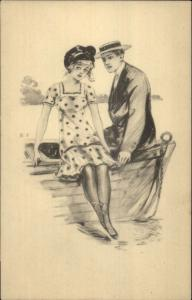 Romance - Pretty Girl Short Dress Sitting on Edge of Boat Pencil Sketch c1910