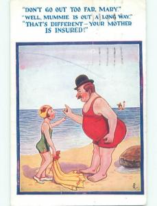 Pre-Linen comic signed MAN WITH HIS DAUGHTER AT BEACH k3617