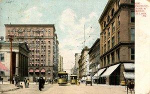 MO - St Louis. Trolleys, Fourth Street North of Market Street