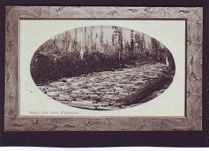 P1641 old unused postcard logging, lumber shingle belt drive washington waterway
