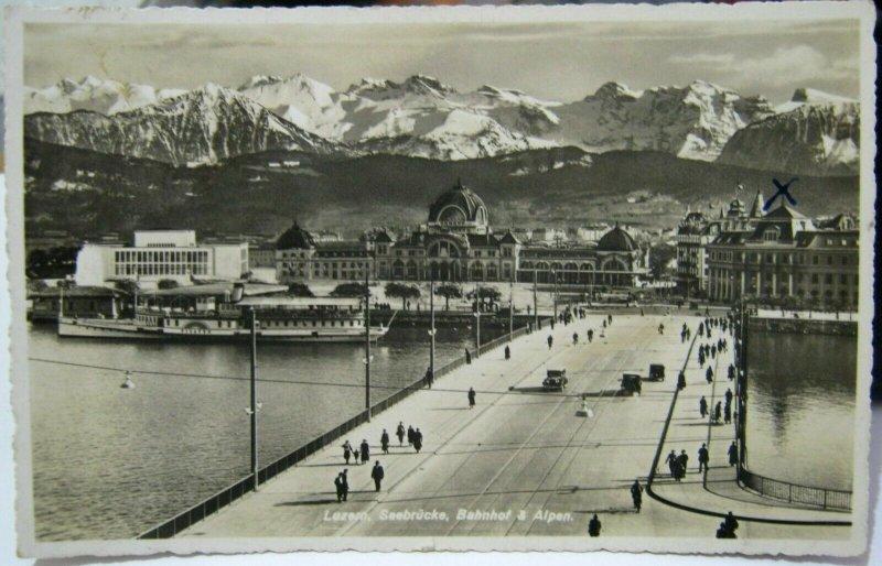 Switzerland Luzern Seebrucke Bahnhof Alpen - posted 1946