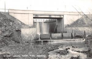 D89/ Eldora Iowa Ia Real Photo RPPC Postcard c1940s Pine Lake Dam Bridge