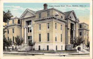 Guthrie Oklahoma birds eye view Logan Co Court House antique pc Z11642