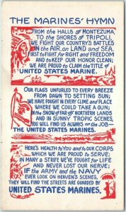 Vintage World War II WWII Military Postcard THE MARINES' HYMN Lyrics Unused