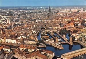 France Strasbourg Les Ponts Couverts et la Cathedrale Aerial view