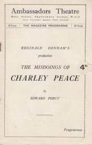 The Misdoings Of Charley Peace Comedy Ambassadors London Theatre Programme