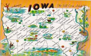Freetings From Iowa With Map