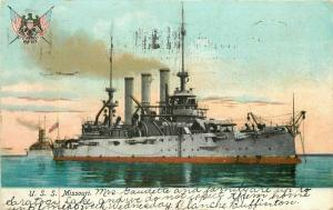 Great White Illustrated Postal Card 1910 USS Missouri Postcard undivided 5607
