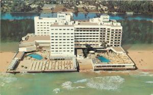 Miami Beach Florida~Barcelona Hotel~On The Ocean~Birdseye Sunbathers~1950s PC