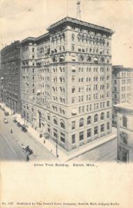 Detroit Michigan~Union Trust Co~Bank Building~1906 B&W Postcard