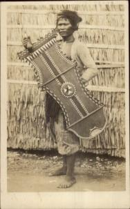 Manila Philippines Native Woman Shield Scott #214 Used Real Photo Postcard spg