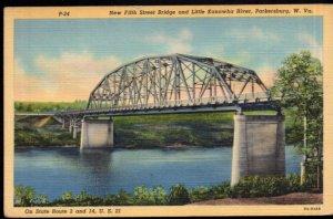 West Virginia PARKERSBURG New Fifth Street Bridge Kanawha River - LINEN