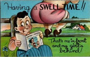 Postcard Humorous Having a Swell Time #341 Texture Front