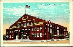 Tulsa, Oklahoma Postcard CONVENTION HALL Building / Street View Kropp c1930s