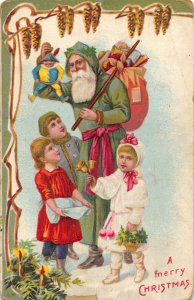Christmas~Old Style Santa in Long Green Hooded Robe~Victorian Children~Germany