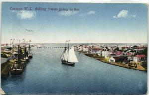 curacao, D.W.I., WILLEMSTAD, Sailing Vessel going to Sea (1910s)