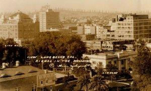 c1930 Bird's Eye View Long Beach California CA RPPC Photo Vintage Postcard