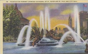 Pennsylvania Philadelphia Fountain On Parkway Showing Cathedral Of St Peter A...