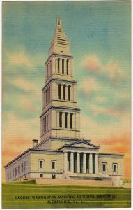 1946 Alexandria VA George Washington Masonic National Memorial Linen Postcard