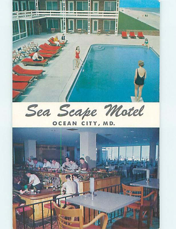 Unused Pre-1980 SEASCAPE MOTEL & RESTAURANT Ocean City Maryland MD M3836