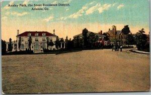 1910s Atlanta, Georgia Postcard ANSLEY PARK, The Finest Residence District