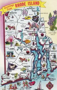 Rhode Island Map Postcard
