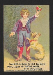 VICTORIAN TRADE CARD John Wanamaker Dry Goods Boy Playing with Dog c1879