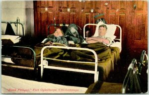 1910s FORT OGLETHORPE, Georgia Postcard Bunk Fatigue Army Post WWI Unused