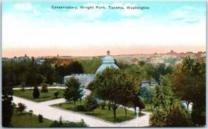 Tacoma, Washington Postcard Bird's-Eye View Wright Park Conservatory PNC c1920s