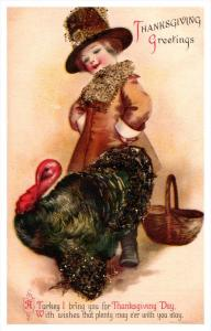 Thanksgiving ,  Pilgrim Boy with  Turkey, lots of glitter