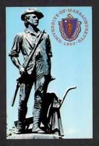 MA University of Massachusetts Symbol Seal Minuteman Postcard Mass PC Univ