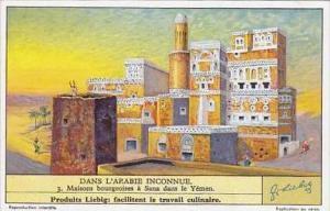 Liebig Vintage Trade Card S1307 Undiscovered Arabia 1935 No 3 Maisons bourgeo...