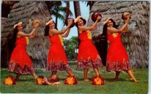 HAWAII, HI  kENT GIHRARD'S HULA NANI GIRLS in Pahu Skirts  c1950s  Postcard