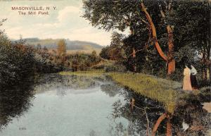 Masonville New York The Mill Pond Scenic View Antique Postcard K15074