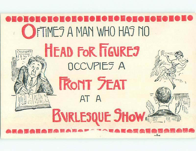 Unused Bamforth risque FIGURES - ACCOUNTANT AND MEN AT BURLESQUE SHOW k7993@