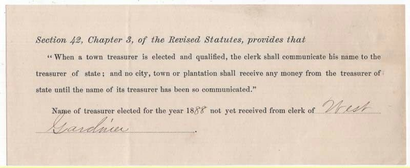 1888 Request for Name of Town Treasurer of West Gardiner, Maine
