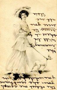Lady & Dog - Artist: M. Farini  (B&W)     *writing on front