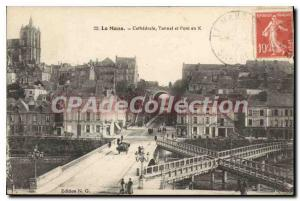 Old Postcard Le Mans Cathedral Bridge And Tunnel In X