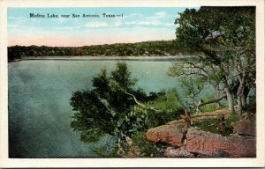 San Antonio Texas~Medina Lake Panorama From Rocky Point~Black Bass Fishing~1920s
