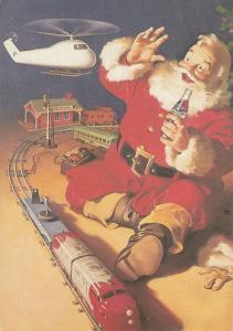 Coca-Cola advertising postcard Santa Claus cheers toys