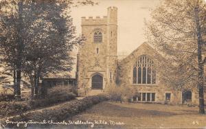 Wellesley Hills MA~100 Years Ago (1916) Congregational Church~1916 RPPC
