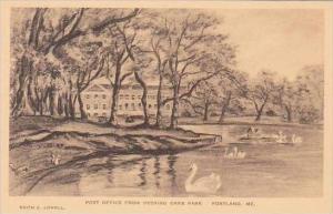 Maine Portland Post Office From Deering Oaks Park Albertype