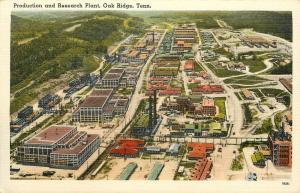 Linen Postcard Nuclear Atomic Production & Research Plant, Oak Ridge TN Unposted