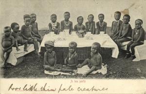 south africa, A Tea Party, Young Native Boys (1904) Sallo Epstein & Co. Postcard