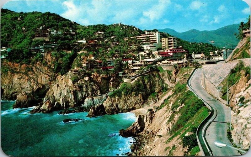 Mexico Acapulco - SCENIC HIGHWAY - CHROME - CARS AUTOS - vintage postcard PC