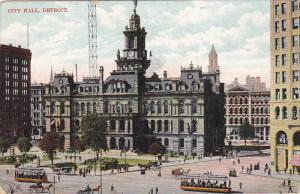 DETROIT, Michigan, 1900-1910's; City Hall, Horse Carriages, Cable Cars