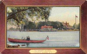 Motor Launch Boat Sport Island Thousand Islands New York 1918 postcard