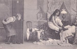 German Peeping Tom Through Keyhole Risque Adult Antique Postcard